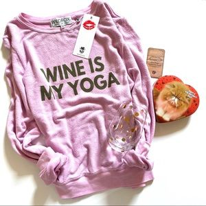 Wildfox The Wine is My Yoga Baggy Beach Jumper XS